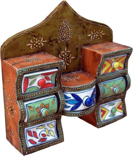 Guru-Shop Kleines Apothekerschränkchen, Schmuckkästchen, Handbemaltes Schubfachschränkchen - Modell 1, Mehrfarbig, 26x27x7 cm, Dosen, Boxen & Schatullen