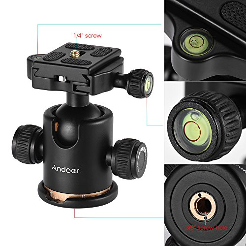 Andoer Tripod Ball Head, 360 Degree Rotating Panoramic Ball Head with Quick Release Plate 1/4 to 3/8 Screw Adapter Max 8kg/17.64lbs for Tripod Monopod Slider DSLR Camera