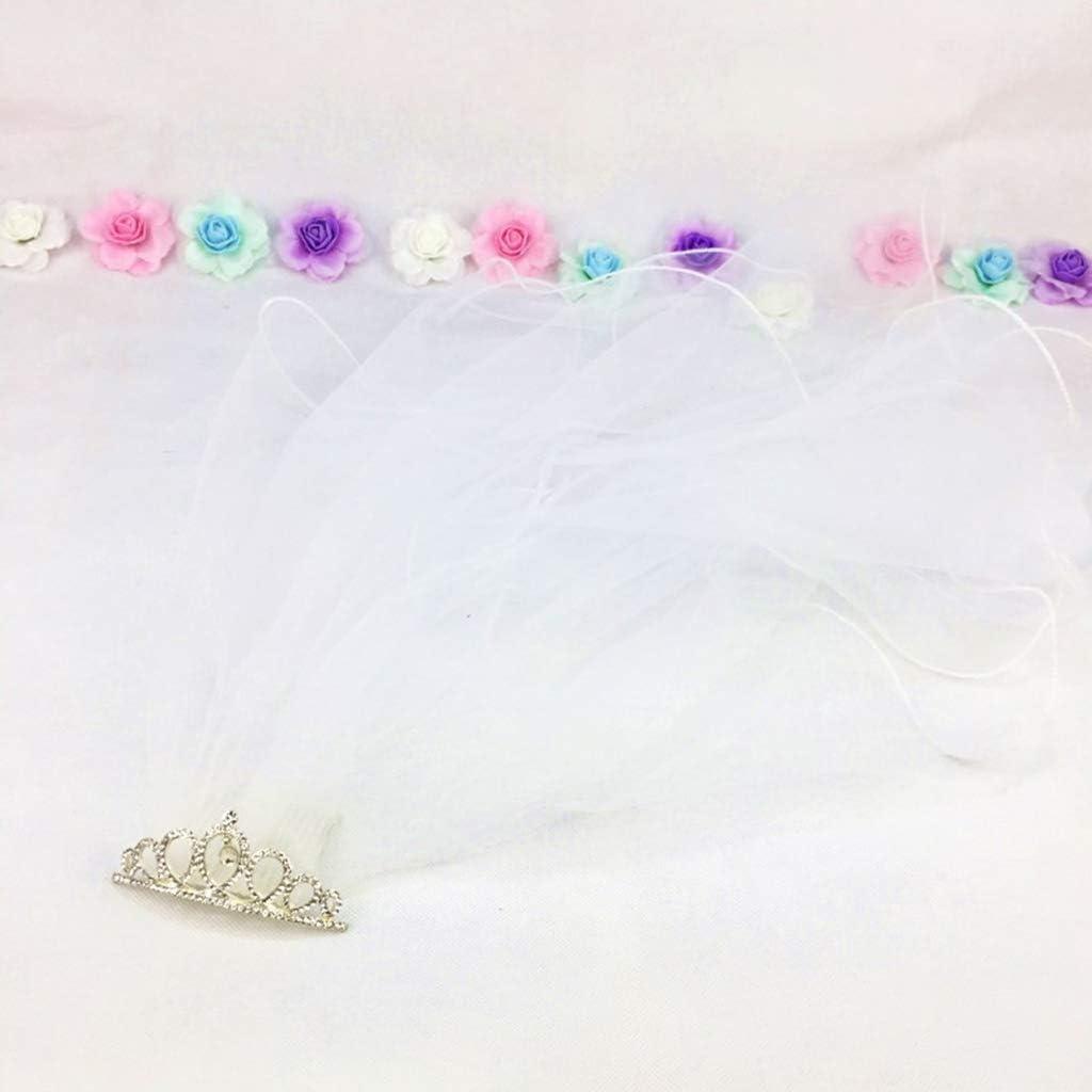 JIUYECAO Flower Girls First Communion Mesh Veil Headband with Gradient Colored Rhinestone Tiara Crown Ruffles Veil Wedding Party Headwear