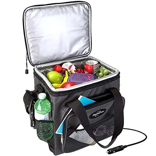 Koolatron D13 Soft-Sided Electric Travel Cooler, 14-Quart Capacity, 12V Car Outlet Plug, Holds Twenty 12-ounce Cans or 2L Bottles Upright, Soft Nylon Sides; Dark Grey