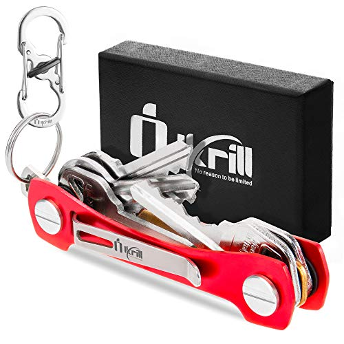 Smart Compact Key Holder & Key Organizer Keychain-Pro with Premium Accessories and Smart Key Ring/loop for Car Keys & Pocket Key Holder, Bottle Opener and Carabiner up to 20 Keys (Red))