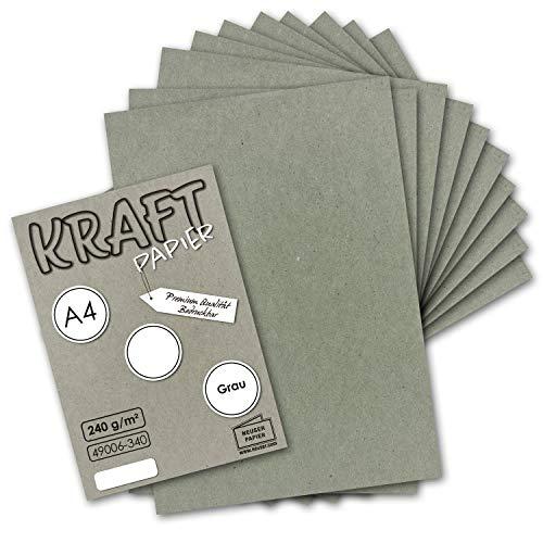 50x Vintage Kraftpapier in Grau - DIN A4 21 x 29,7 cm - 210 x 297 mm - 240 g/m² natur-graues Recycling-Papier, 100% ökologisch Bastel-Karton Einzel-Karte I UmWelt by GUSTAV NEUSER®