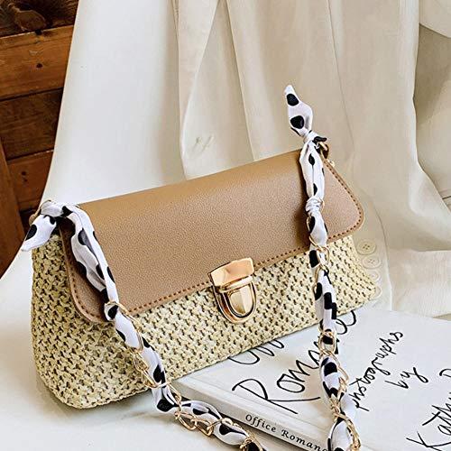 HUYHUY Umhängetasche Kleine Stroh Gewebte Weibliche Rattan Gewebte Nähtasche Pu Leder Achsel Brieftasche Tasche