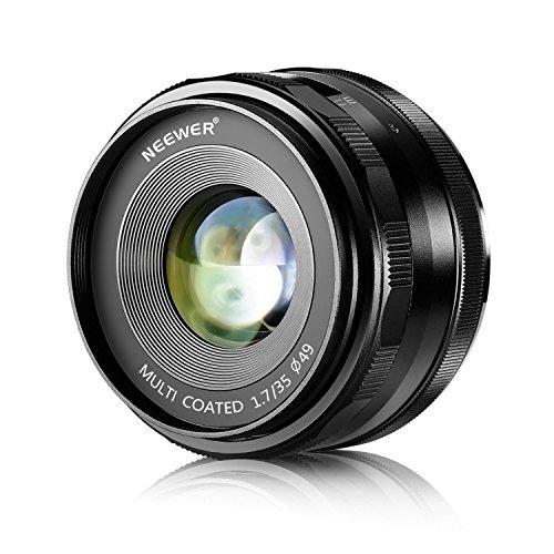 Neewer® 35mm f/1.7 Enfoque Manual Primer Lente Fija para FUJIFILM APS-C Cámaras Digitales, Tal como X-A1/A2, X-E1/E2/E2S, X-M1, X-T1/T10, X-Pro1/Pro2 (NW-FX-35-1.7)
