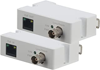 LINOVISION POE IP Over Coax EOC Converter Max 3000ft Power and Data Transmission Over Regular RG59 Coaxial Cable for Upgrading Analog Surveillance System to IP Surveillance System