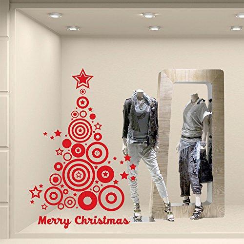 Kina NT0032 Albero Di Natale Optical - 60X90 Cm - Rosso - Vetrofanie Natalizie Decorazioni Per Natale Adesivi Natale