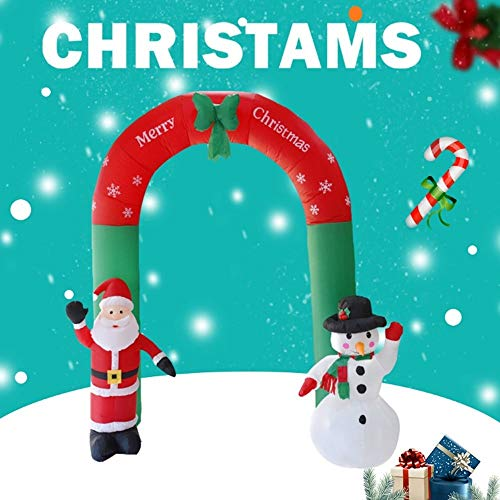 QTRT 240cm Tall Lighted Christmas Inflatable Archway Arch With Santa Claus And Snowman Cute Indoor Outdoor Garden Yard Party Prop Decoration Garden Green