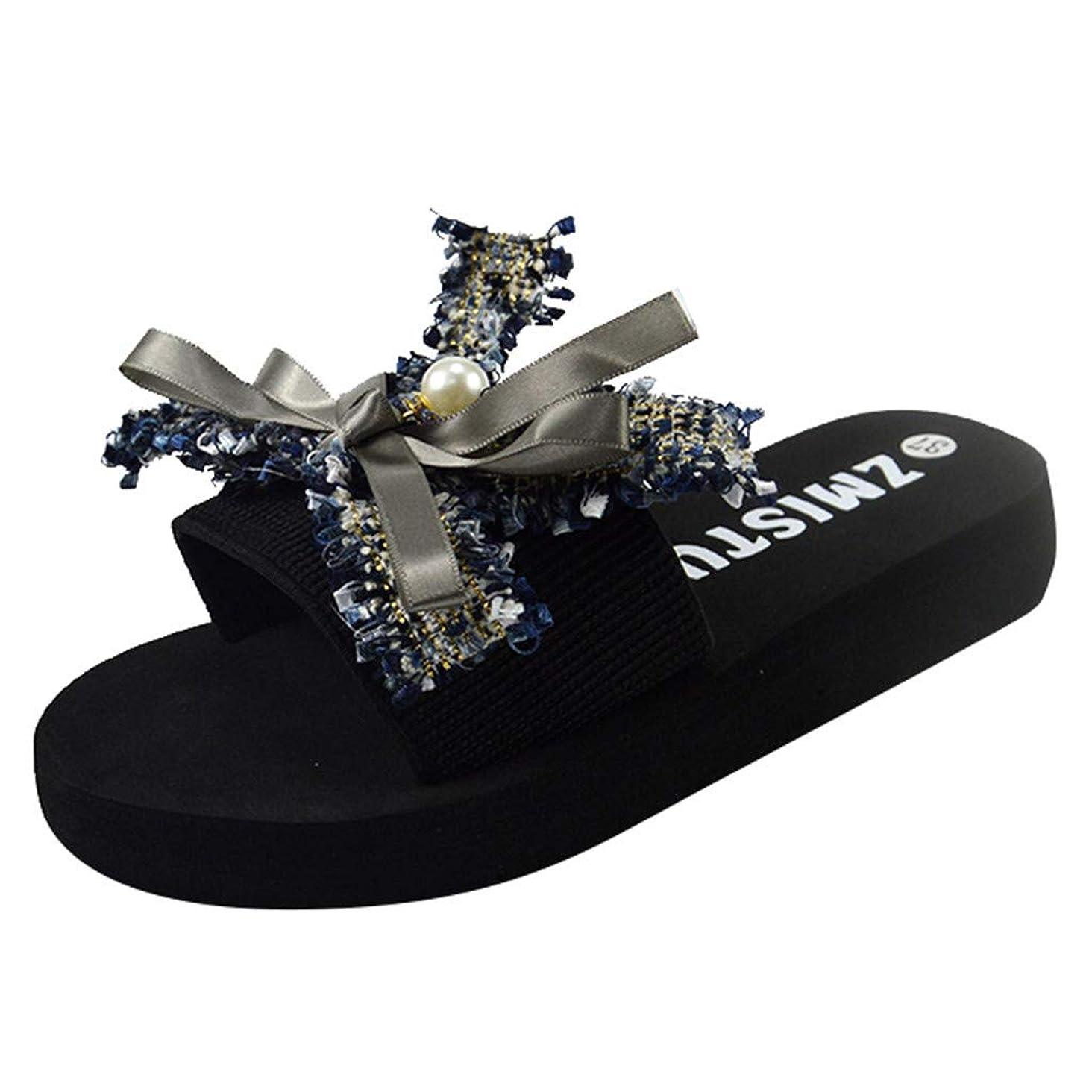 Londony?? Women Bow Flip-Flops Sandals Beach Flat Rain Jelly Shoes Bohemia Floral Print Sandals Slippers Shoes Gray