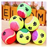 FURASTY New Pet Toy Ball Dog Toy Toy Pelotas de Tenis Run Fetch Throw Play Toy Chew Toy Cat Mascota Suministros para Perros al por Mayor para Perros Diámetro 6.5cm (Color : Random, tamaño : 65mm)
