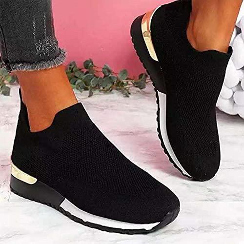 Gym jogging sneakers,Trail hardloopschoenen,Elastische vliegende geweven sokken schoenen, dames net schoenen-black_42