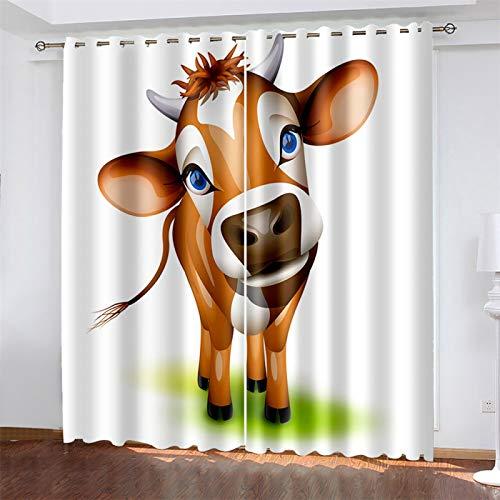 YUNSW Cortinas De Impresión Digital 3D, Cortinas De Poliéster Opacas Y De Reducción De Ruido, Adecuadas para Sala De Estar Y Dormitorio, con Perforaciones (Total Width) 264x(Height) 160cm