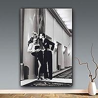 """レトロなキャンバスの絵画男性と女性の煙の壁の芸術黒と白の絵画とリビングルームの家の装飾のためのポスター23.6""""x31.4""""(60x80cm)フレームレス"""