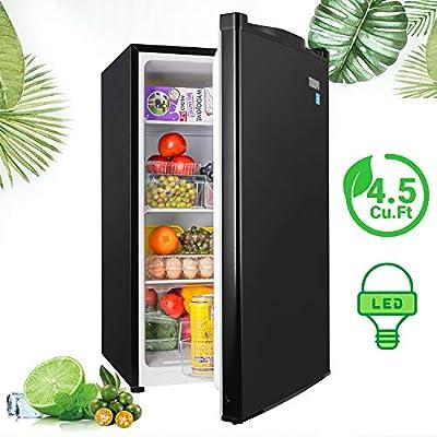 Mini Refrigerator, TECCPO Compact Fridge 4.5 Cu.Ft with LED Light, Reversible Door, Energy Star, 7 settings Adjustable Thermostat Control, Super Quiet for Bedroom, Studio, Dorm, Office, Apartment, Classic Black- TAMF09