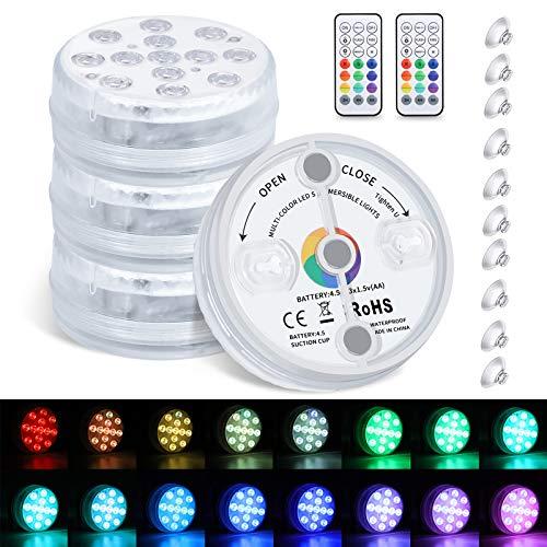 LEDGLE 水中ライト LED潜水ライト 4点セット 磁気式改良版 IP68防水 RGB変色 16色切り替え/タイマー機能/明るさ調整可/10つ吸盤付/リモコン操作 13灯LED 水槽照明 お風呂ライト パーティー 室内室外装飾に
