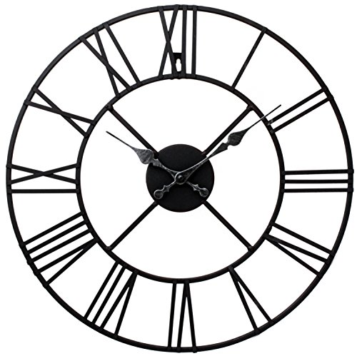 Stunning Metal Roman Numeral Clock - Black 'Iron' by Kitchen Clocks and Wall Clocks