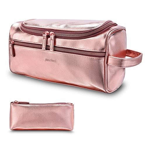 DTBG Leder Kulturbeutel Reise Kulturbeutel Organizer Tragbare Hängende Make-Up Tasche Dopp Kit & Rasur Kosmetiktasche für Männer Frauen (Rosa)
