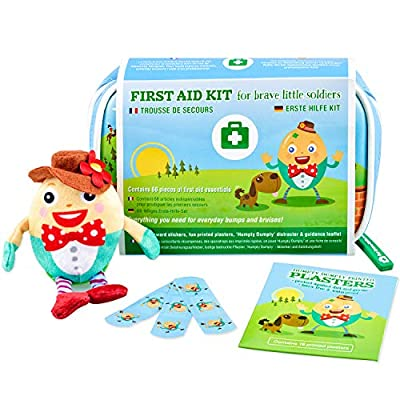 Yellodoor Baby First Aid Kit 68 Pieces of Essential Medical Grade Supplies for Kids, Family Home, Car and Travel, Includes Humpty Dumpty Finger Puppet Distractor and Reward Stickers.100% Vegan by Yellodoor