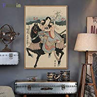日本の浮世絵美布絵画スパレストラン古典的な壁画女性壁画ポスターホームリビングルーム装飾60x90cmフレームなし