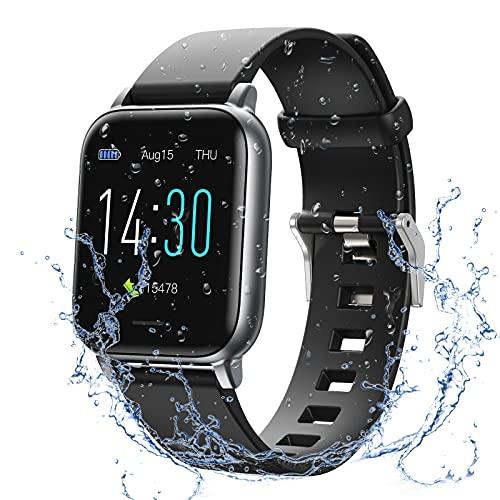 Smartwatch, Fitness Armband Wasserdicht IP68 Fitness Tracker mit Pulsmesser 1,3 Zoll Farbbildschirm Pulsuhren Schrittzähler Uhr Smart Watch Fitness Uhr für Damen Herren Kinder