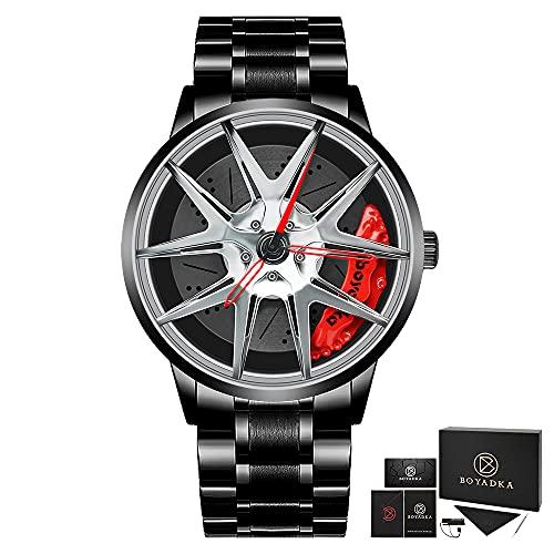 Reloj de rueda de coche para hombre, reloj deportivo impermeable hueco de cuarzo de moda, B5079-plata,