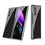 Compatibile con Samsung Galaxy Z Fold 2-5G Smartphone Cover(2020)+3D Pellicola Protettiva in Vetro Temperato+Custodia Ultra Sottile Durevole Antiurto Gomma Case Cover per Samsung Galaxy Z Fold 2-5