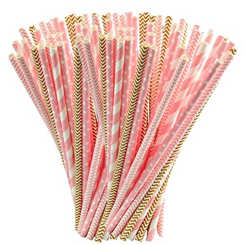Rbenxia - 100 pajitas desechables de papel biodegradable para cumpleaños, bodas, baby shower, celebraciones y fiestas de Halloween en oro y rosa