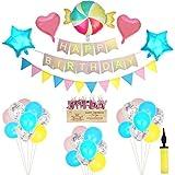 Herefun Geburtstag Party Dekorationen Mädchen, Kindergeburtstag Deko Happy Birthday Girlande mit Candy Folienballon, Folie Pentagram und Herzballon für Kinder Candyland Party Dekorationen