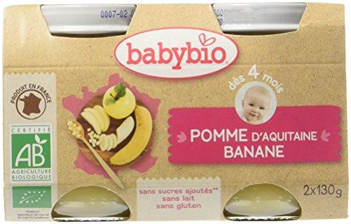 Babybio Pots Pomme d'Aquitaine Banane 260 g - Lot de 6