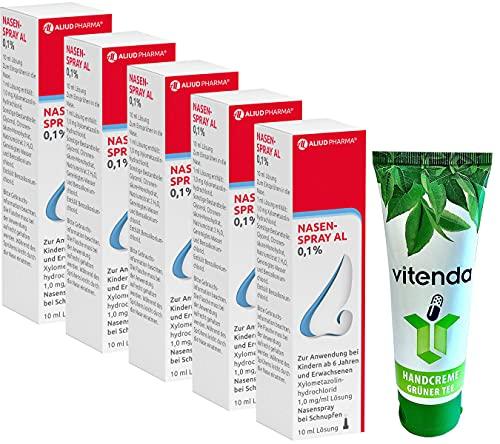 Nasenspray AL 0,1{1d7e3d2b9e934c1b1310cbe3d7c5c3b0fba240149ed6c369442ebab44d35ed02} für Erwachsene inclusive einer Handcreme von vitenda (5x10ml)