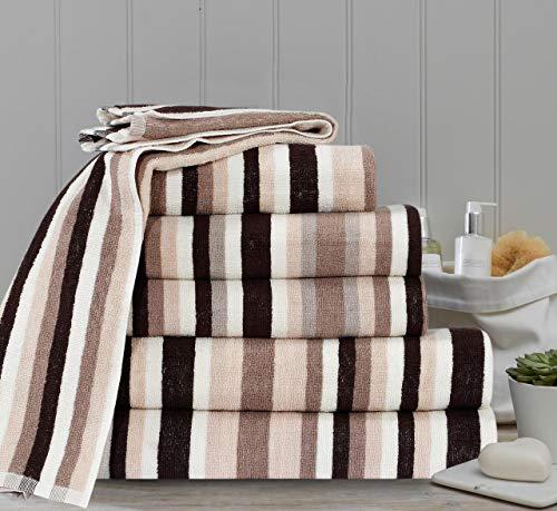 Northern Luxe Royal Victorian Pure100% algodón rayas calidad 550 g/m² juego de toallas de baño, toallas de baño y balas (marrón, juego de 6)