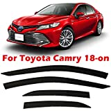 olltoz Tape-On Dark Tinted Side Window Visor Deflectors Vent Rain Guards Compatible with Toyota Camry 2018 2019 2020 2021 XV70 for All Trims L LE SE XLE XSE Hybrid