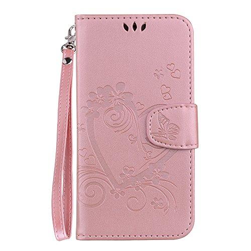 Capa carteira de couro PU coração amor XYX para Samsung Galaxy S8, Rose Gold, Samsung Galaxy S8