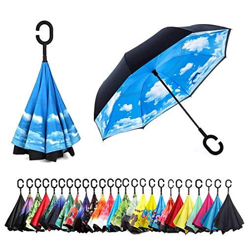 Sumeber Double Layer Reverse Regenschirm mit C Griff Schützen vor Sturm Wind Regen und UV-Strahlung Innovativer Regenschirm (Himmelblau)