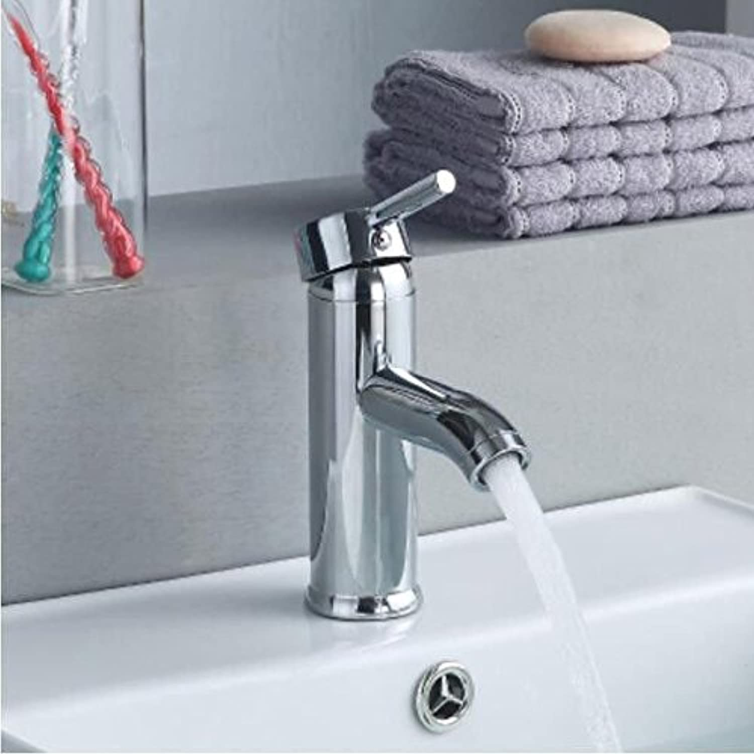 Decorry All Copper Single Hole Basin Basin Handbasin Faucet Bathroom Cabinet Cold Hot Faucet Washbasin Basin Mixing Valve Ceramic Disc Spool,B