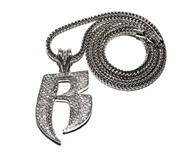 Crescendo SJ INC New Iced Out Ruff Ryders  R  Pendant 4mm&36  Franco Chain Hip Hop Necklace MP860R