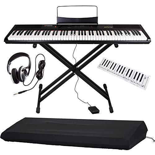 Artesia 電子ピアノ バリューセット 88鍵 PERFORMER/BK ブラック (サスティンペダル/スタンド/ヘッドフォン/鍵盤デザインクロス付属) + GATOR製ピアノカバー付き