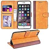 Adicase iPhone 6 Plus Hülle Leder Wallet Tasche Flip Hülle Handyhülle Schutzhülle für Apple iPhone 6 Plus / 6S Plus 5,5 Zoll (Braun Streifen)
