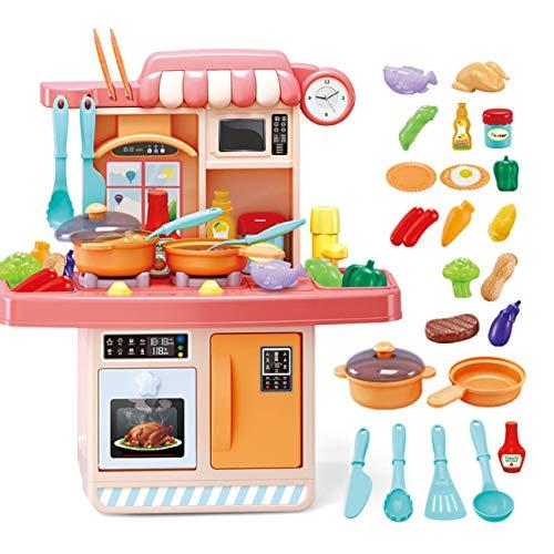 TOPVORK 1 Set Kinder-Küchenspielzeug, Kochtisch-Set, Kinderspielzeug, Spritzwasser, Essgeschirr, Simulationsspielzeug mit Geräuschen, Lichtern