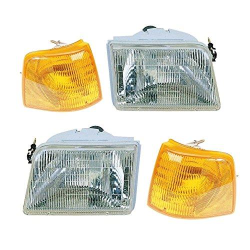 Chrome Headlights & Corner Parking Lights L/R Pair for 93-97 Ford Ranger