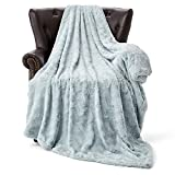 HT&PJ Fluffy Faux Fur Throw Blanket Reverse Plush Sherpa Thick Warm Soft for Sofa Bedroom Decor Throw Size Solid (Lake Blue, 50'X60')