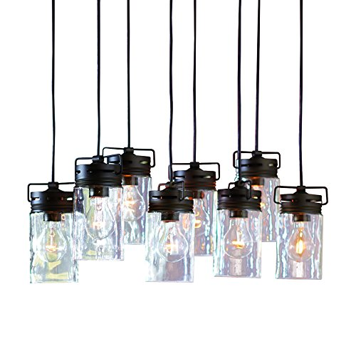 allen + roth Vallymede Aged Bronze Multi-Light Transitional Clear Glass Jar Pendant