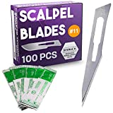 Pack of 100 Disposable Surgical Blades 11, Size 11 Scalpel Blades for Surgical Knife Scalpel, High Carbon Steel Dermablade Surgical Blades. Individually Wrapped 11 Blade, Sterile