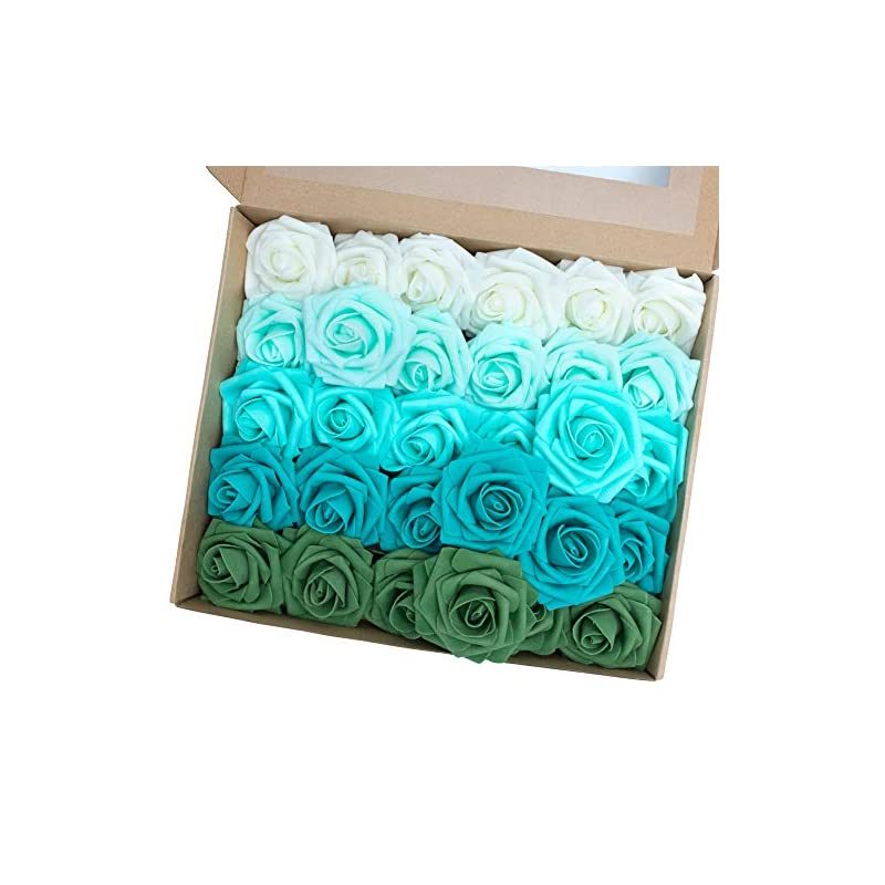 silk flower arrangements macting artificial flower rose, 30pcs real touch fake roses for valentine's day mother's day diy bouquets wedding party baby shower home decoration (series e)