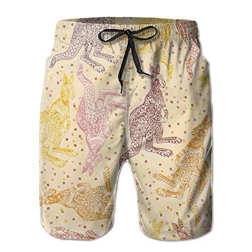 Herren Sommer Ethnic Kangaroo Schnelltrocknend Badehose Boader Shorts Beach Badeanzug Sport, Größe XL