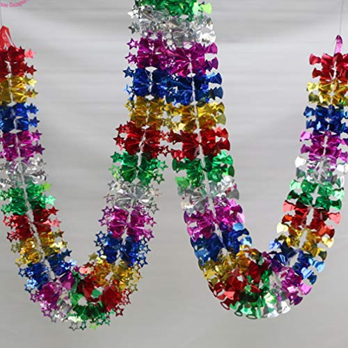 Weiy Christmas Foil Garland Tree Ceiling Party Hanging Decorations Wall Window Hanging Swirls Festive Tinsel,star