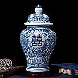 WLGO Jarrn de Porcelana Tradicional China para Templo, jarrn de cermica Antigua, decoracin de Arte Hecho a Mano, jarrn de cermica Chino Azul y Blanco, Estilo Ming de China-a