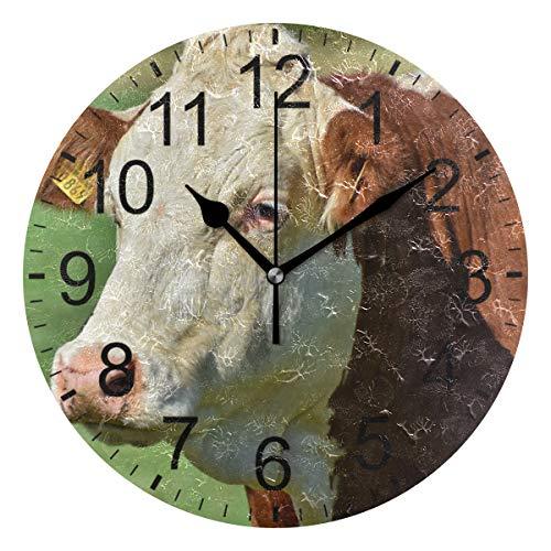 SENNSEE Wanduhr, Kuh, Rindermilch, Tier, Weide, Wanduhr, dekorativ, für Wohnzimmer, Schlafzimmer, Küche, batteriebetrieben, rund