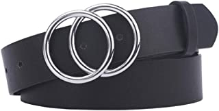 New Belt Women Belts for Women's Jeans Fashion Gold Buckle Waist Leather Strap Designer Strap Belt Very Strong and Durable (Color : Silver, Size : 100cm)