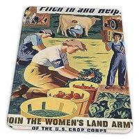 ゲーミングマウスパッド - プロパガンダ第二次世界大戦戦争ピッチ野菜野菜女性陸軍米国 マウスパッド おしゃれ ゲームおよびオフィス用/防水/洗える/滑り止め/ファッショナブルで丈夫 25x30cm
