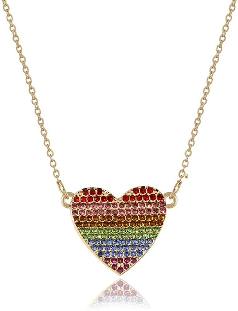 Gierzijia Rainbow Bridge Rainbow Heart Pendant Necklace for Women, Multicolor Oil Drop Diamond Collar Necklace, Jewelry Gift for Mother, Wife and Friends